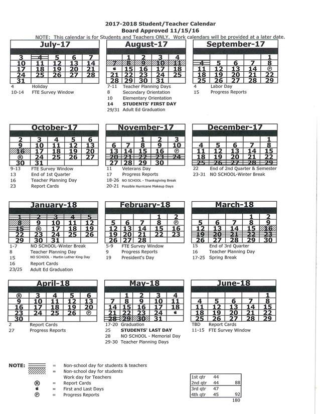 2017-2018 Student teacher Calender image