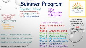 New LEAPS Summer Program Flyer Image
